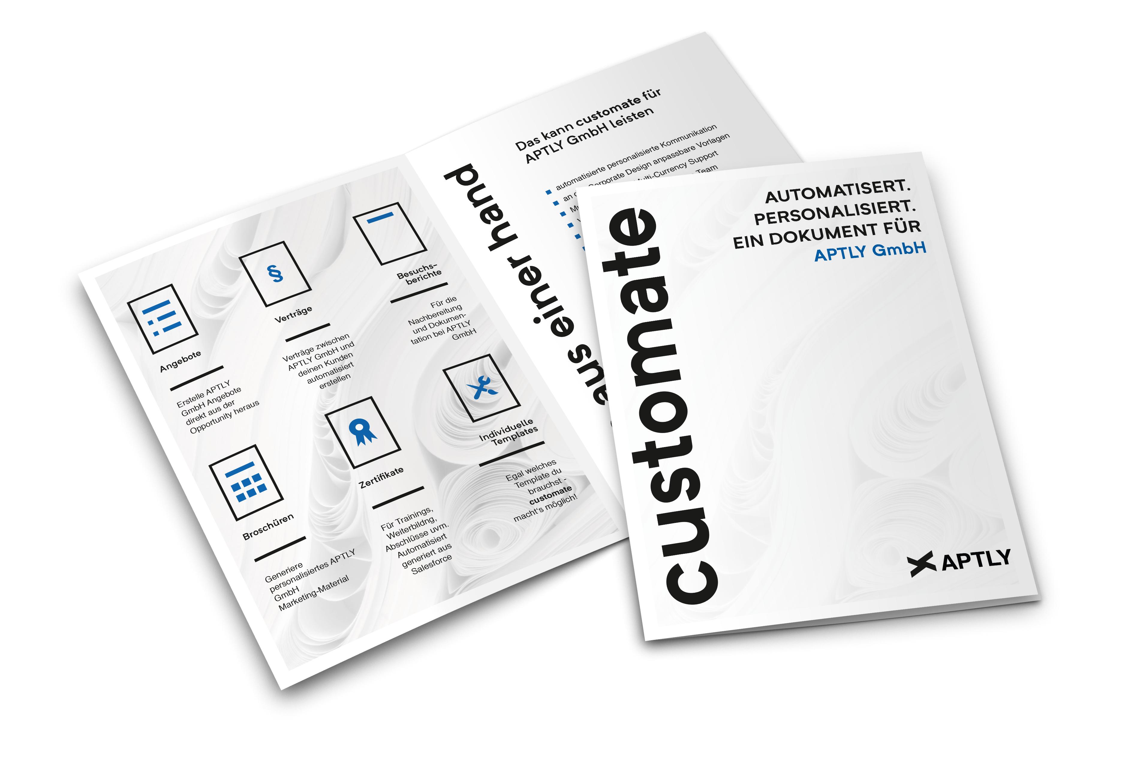 Hyper-personalisierte customate Broschüre mit Unternehmensname im Titel